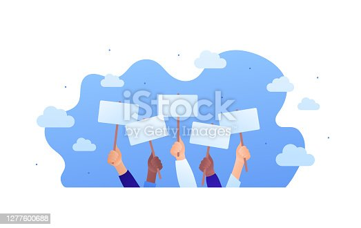 Protest, voting or advertisement campaign concept. Vector flat people illustration. Group of multiethnic hands holding placard with copy space on blue sky background. Design element for banner, web.