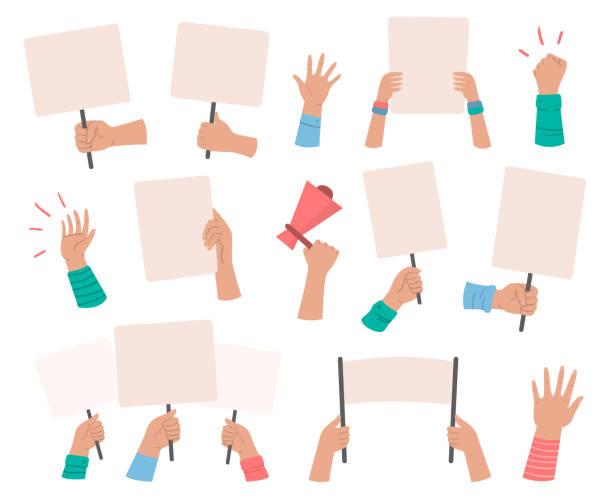 ilustraciones, imágenes clip art, dibujos animados e iconos de stock de pancartas de los manifestantes. signo de manifestación cartel sostenga en la mano, paz protesta cartel y carteles de voto en blanco aislaron conjunto de vectores - señal