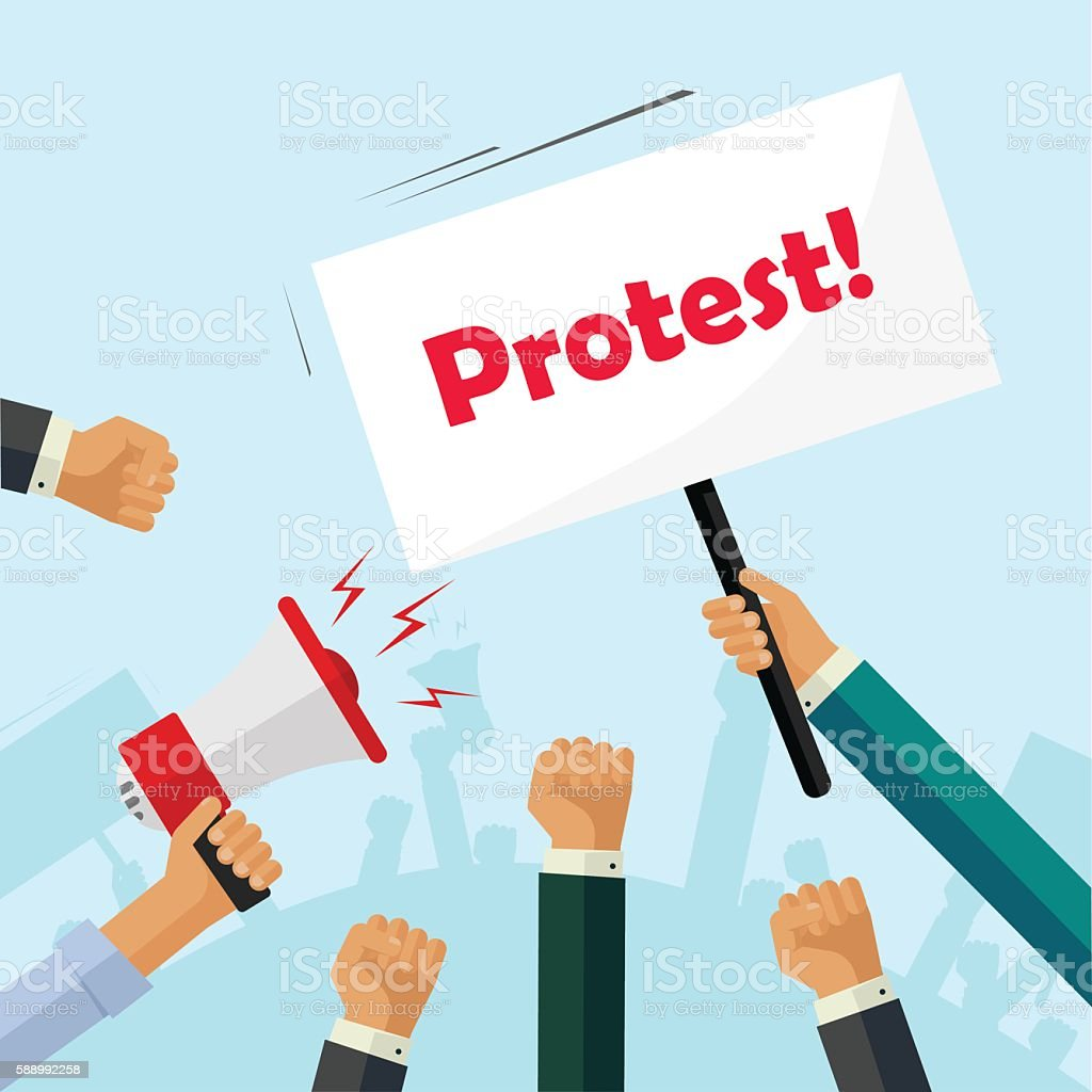 Protesters hands holding protest signs, crowd people, political, activist fists vector art illustration