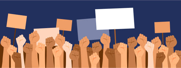 Protesters hands holdingbanners with copyspace. Strike, revolution, conflict vector background.Strike political protester and demonstration. vector art illustration