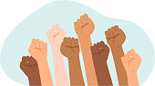 istock Protesters hands.Multiracial fists hands up vector illustration. Concept of unity, revolution, fight, cooperation. 1248480886