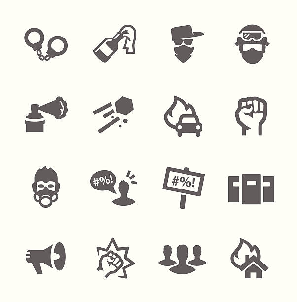 Protesters icons Simple set of protest related vector icons for your design police meeting stock illustrations