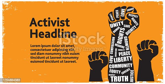Protesters or activist hand in the air with take action words web banner template