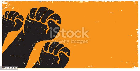 istock Protesters or activist hands in the air with texture 1254884315