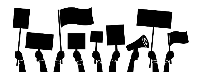Protesting community conceptual illustration. Collection of human hands with banners, placards and speech. Vector isolated silhouettes.