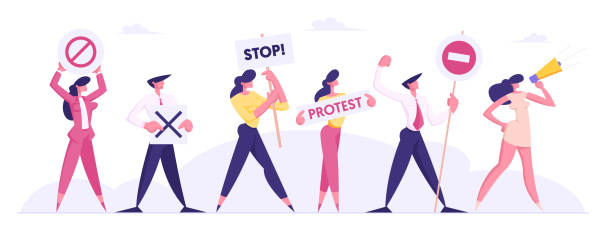 ilustrações de stock, clip art, desenhos animados e ícones de protesting people against presidential election or candidate voting holding placards on strike or demonstration, male, female characters with protest banners and signs cartoon flat vector illustration - democracy illustration