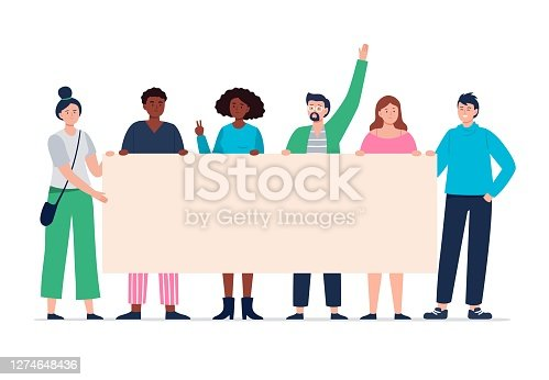 istock Protesting people holding a blank placard. Young and modern activists on parade or political meetings standing together. Expression of political, social position. 1274648436