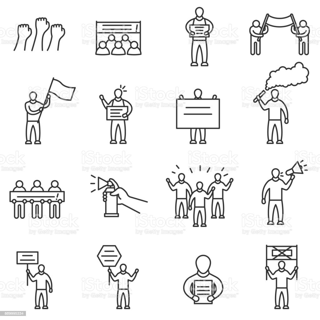 Protesting people icons set. Editable stroke vector art illustration