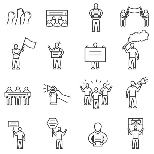 Protesting people icons set. Editable stroke Protesting people icons set. Man with signs and banners. Demonstration, protest and meeting. Line with editable stroke human representation stock illustrations