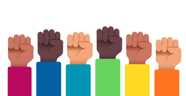 Protesting People with Hands Raised People protesting holding up raised fists. civil rights stock illustrations