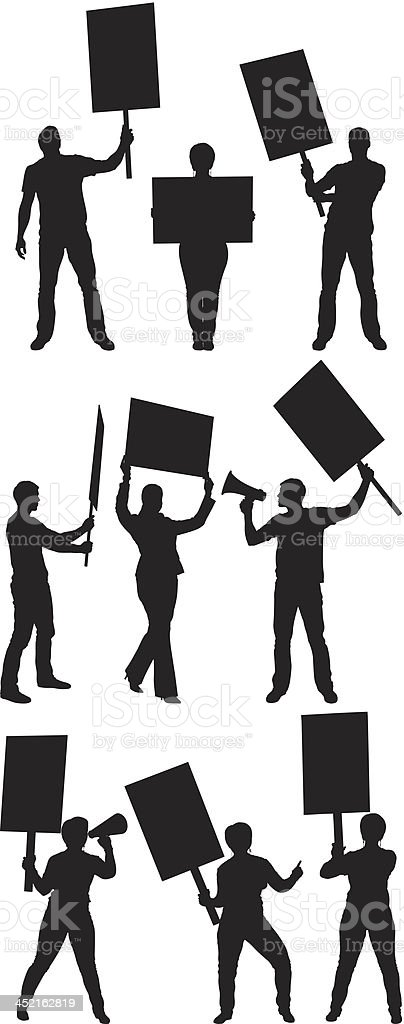 Protestors with signboards vector art illustration