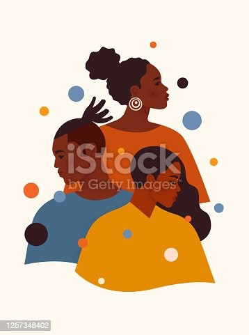 protests. African American men and woman in colorful clothes stand one by one. Tolerance and no racism concept. Protest Banner about Human Right of Black People. Cartoon vector illustration.
