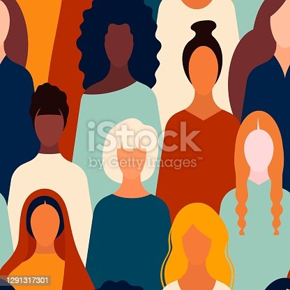 istock Protests. stop rasicm pattern,multinational people web banner page.element for feminism, womens day card, poster, banner, textile, wallpaper, packaging background,BIPOC. Women's rights 1291317301