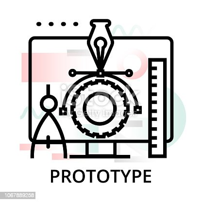 Prototype icon on abstract background from startup set, modern editable line vector illustration, for graphic and web design