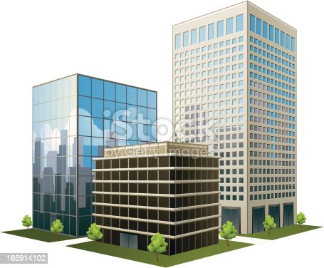 istock A prototype of three office buildings on a white background 165914102