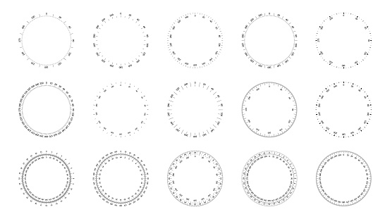 Protractor dial faces with editable stroke width.