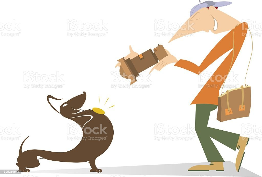 Proud dog and photographer vector art illustration