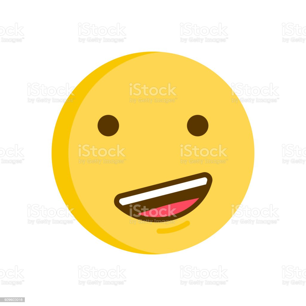 Proud emoticon. Vector smiley emoji icon with a confident smile vector art illustration