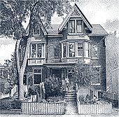 Etching illustration of a proud home owner standing on the porch of his restored Victorian house.