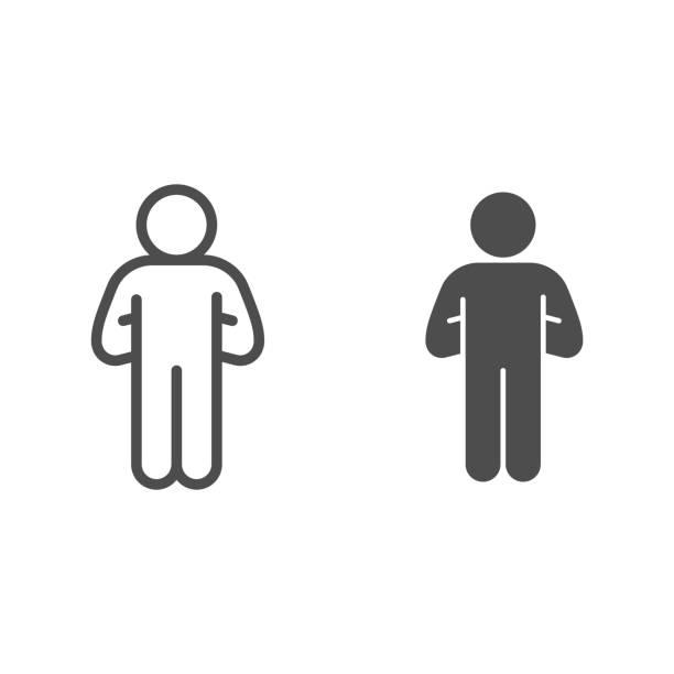 bildbanksillustrationer, clip art samt tecknat material och ikoner med stolt mänsklig pose linje och solid ikon. man med händerna ner bakom kontur stil piktogram på vit bakgrund. confident pose för mobilt koncept och webbdesign. vektorgrafik. - endast en man