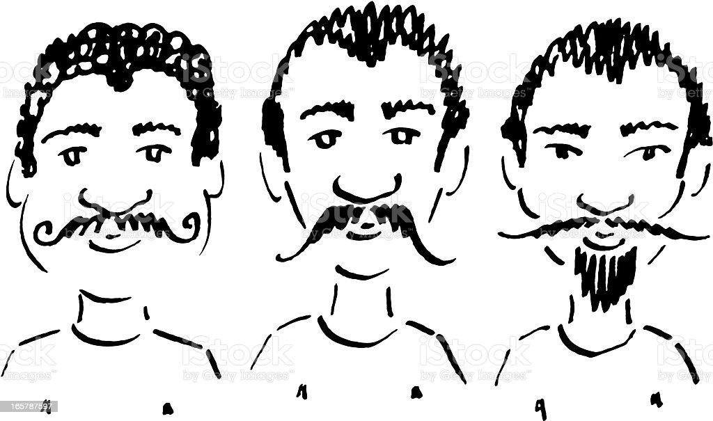 Proud moustache owners vector art illustration