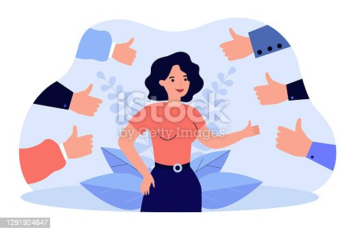 istock Proud positive woman surrounded by hands with thumbs up 1291924647