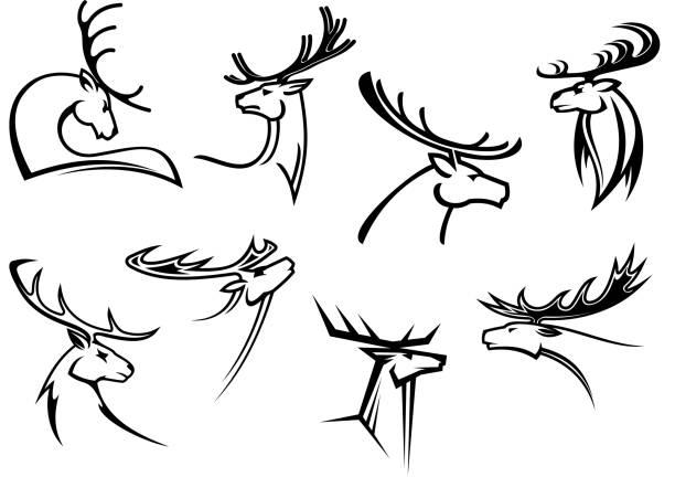 Deer Head Thin Line Icon Christmas Stock Vector (Royalty Free) 1228946842
