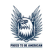Vector illustration design of bald eagle, shield and wings in engraving technique. Isolated on white.