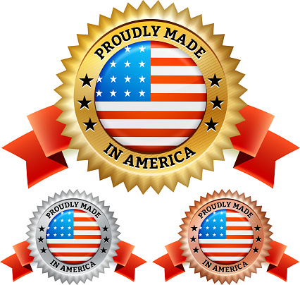 Proudly Made in the USA patriotic Badge vector icon set