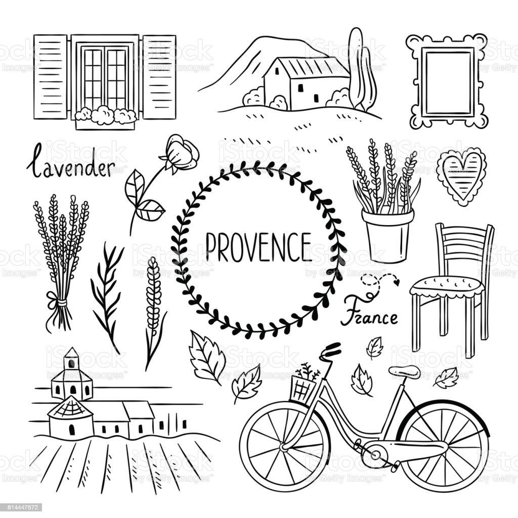Provence Hand Gezeichnete Abbildung. Französisches Dorf Elemente. Lavendel,  Fahrrad, Möbel Und Landschaften