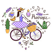 Provence associated symbols arranged in a heart shape.