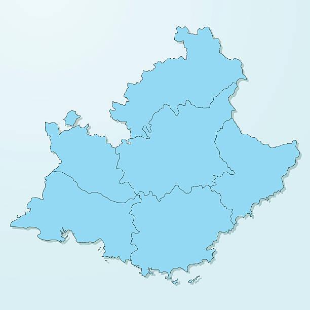 stockillustraties, clipart, cartoons en iconen met provence-alpes-cote d'azur blue map on degraded background vector - marseille