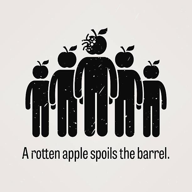 proverb - a rotten apple spoils the barrel - rotten apple stock illustrations, clip art, cartoons, & icons