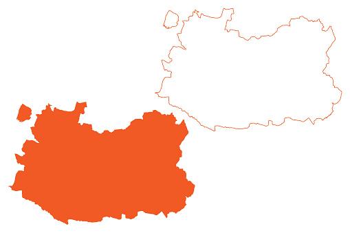Province of Ciudad Real (Kingdom of Spain, Autonomous Community CastillaLa Mancha or Castile La Mancha) map vector illustration, scribble sketch Ciudad Real map