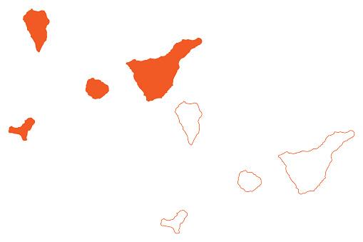 Province of Santa Cruz de Tenerife (Kingdom of Spain, Canary Islands) map vector illustration, scribble sketch Tenerife, La Gomera, El Hierro, and La Palma map