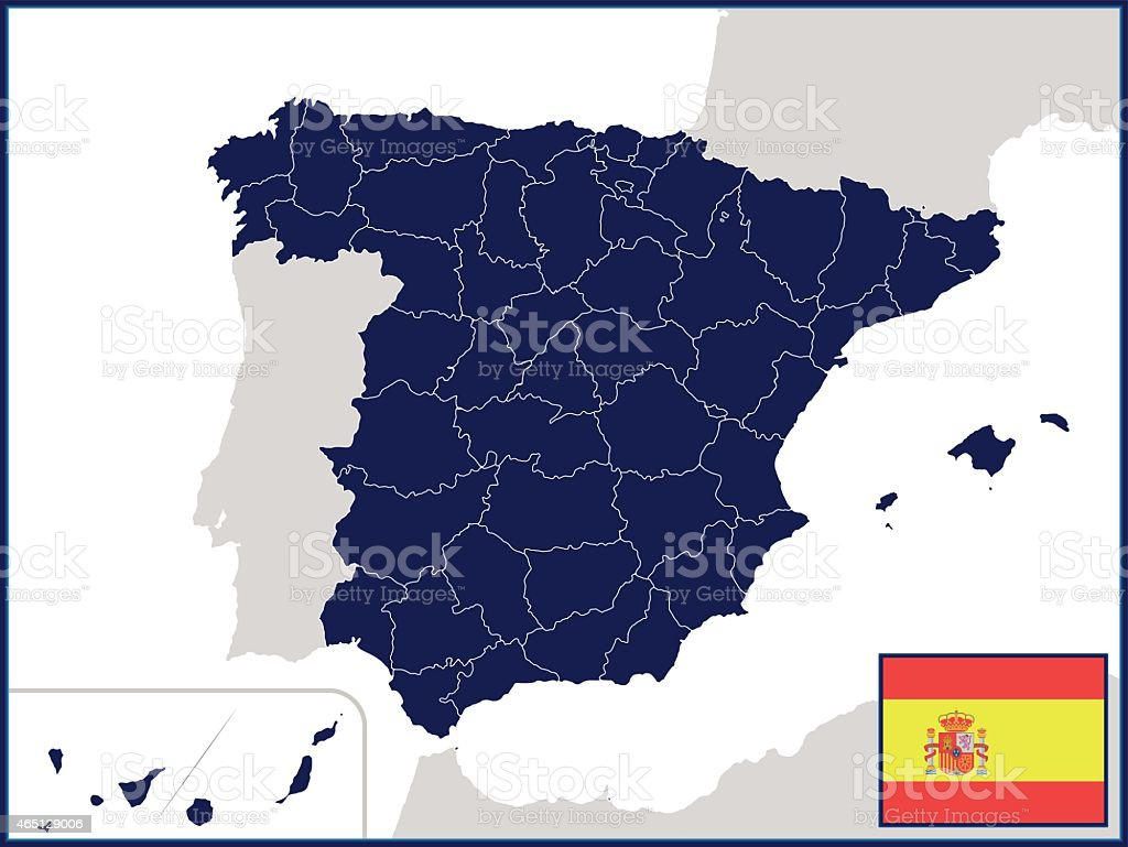 Provinces of Spain with Flag and Badge vector art illustration