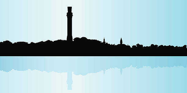 Provincetown Skyline silhouette of Provincetown, Massachusetts. provincetown stock illustrations
