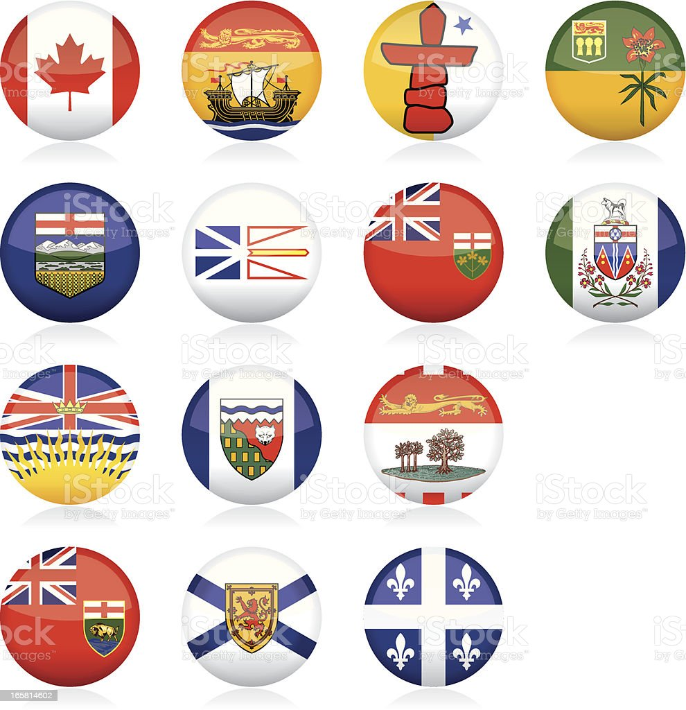 Provincial Flags of Canada: Glossy Buttons royalty-free stock vector art