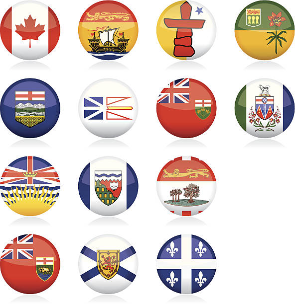 Provincial Flags of Canada: Glossy Buttons Glossy buttons displaying the Provincial flags of Canada. All elements are grouped, layered and clearly labelled. quebec stock illustrations
