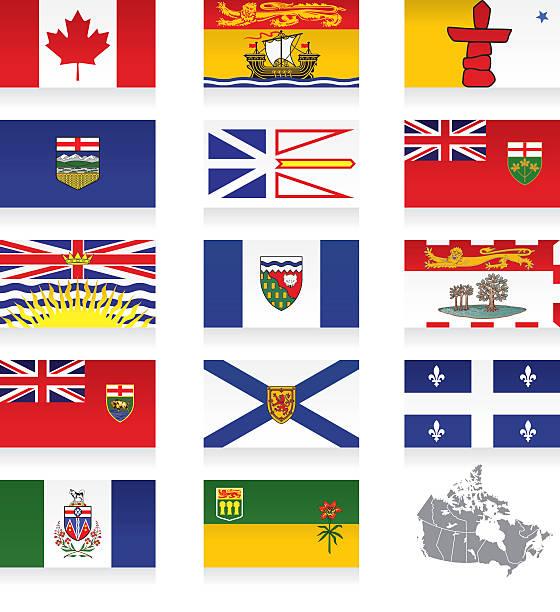 provincial flags icon set für kanada - flagge kanada stock-grafiken, -clipart, -cartoons und -symbole
