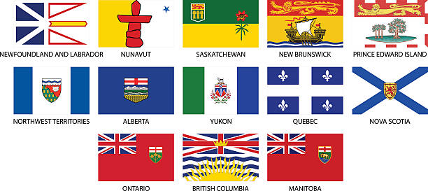 Provincial flags of Canada icons The Provincial flags of Canada. All elements are grouped, layered and clearly labelled. british columbia stock illustrations