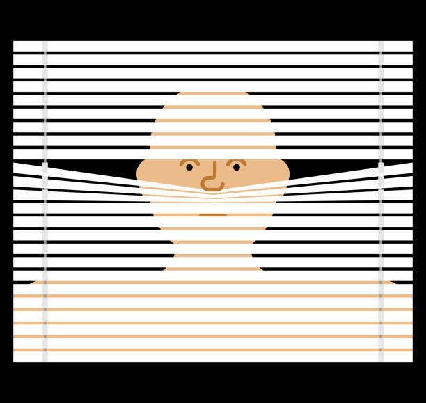 pry through jalousie. watching through blinds. spying vector illustration - жалюзийный тип stock illustrations