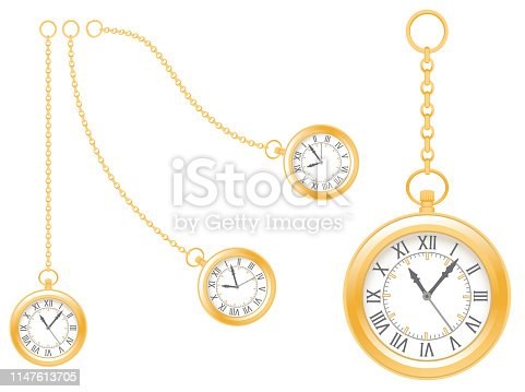istock Pseudo antique gold watches on white background. 1147613705
