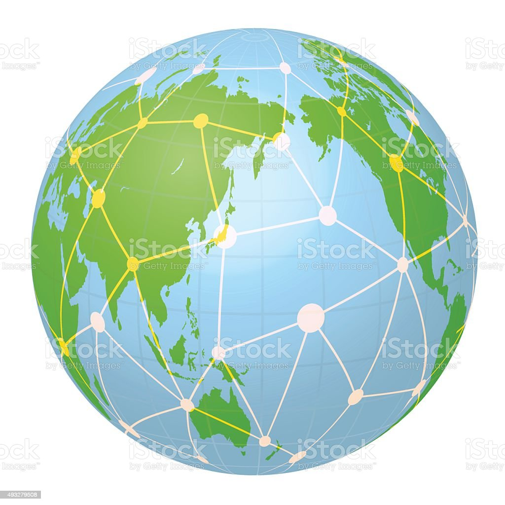 Whole Map Of The World.Pseudo Earth That Contains The Whole World Map And Network Stock
