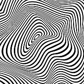 Vector Illustration of a black and white halftone of a Psychadelic Waves Abstract Background