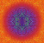 Psychedeli abstract tribal Mandala. Bright vintage round pattern. Vector illustration fractal background. Neon gradient colors. Indian, Buddhism, yoga.