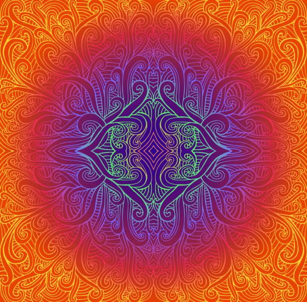 ilustrações, clipart, desenhos animados e ícones de mandala tribal abstrata de psychedeli. teste padrão redondo brilhante do vintage. fundo do fractal da ilustração do vetor. cores de néon do inclinação. indiano, budismo, yoga. - organic shapes