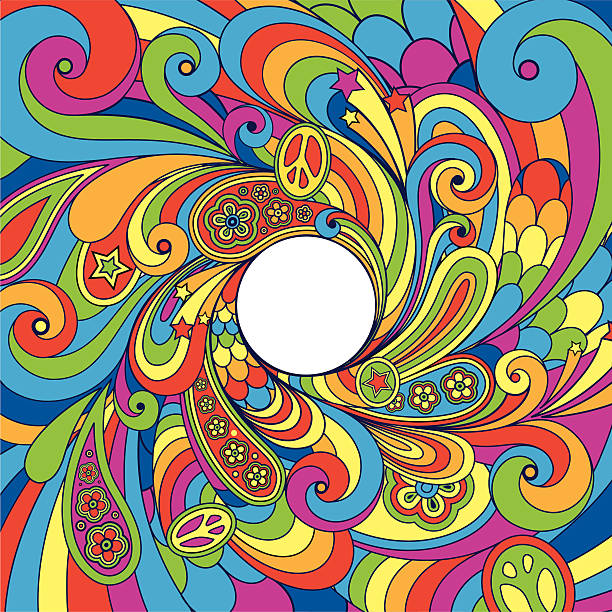 psychedelic 70's background - 1960s style stock illustrations, clip art, cartoons, & icons