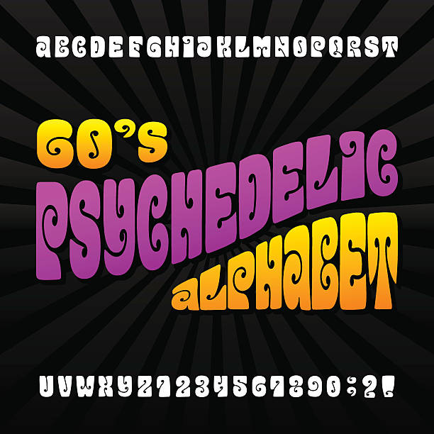 Psychedelic alphabet vector font Psychedelic alphabet vector font. Hand drawn letters and numbers in 60's hippy style. Stock vector typeset for your design. funky stock illustrations