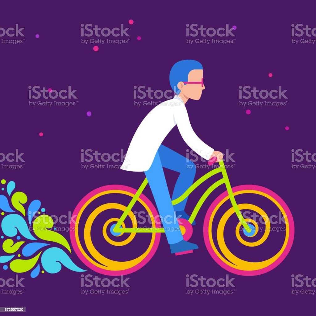 Psychedelic bicycle ride vector art illustration